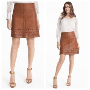 White House Black Market leather cut out skirt NWT